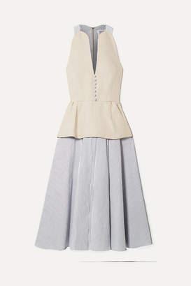 Rosie Assoulin Layered Hemp And Cotton-poplin Midi Dress - Cream
