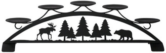 Village Wrought Iron Moose and Bear Tabletop Pillar Candleholder
