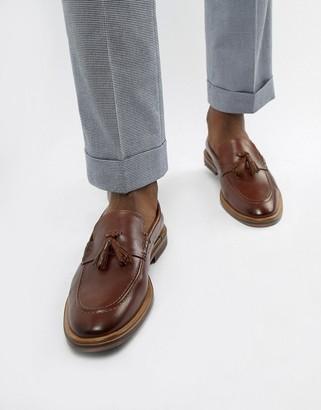 Walk London West tassel loafers in brown leather