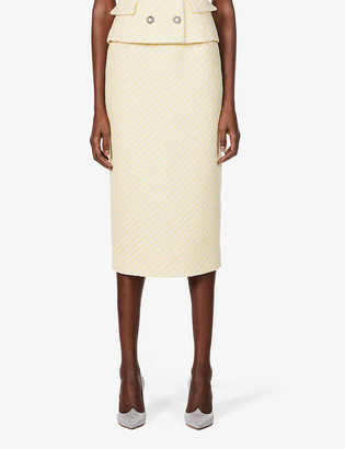 Alessandra Rich Striped high-waist cotton-blend midi skirt