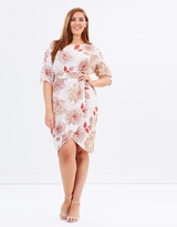 Floral Front Tie Wrap Skirt Dress