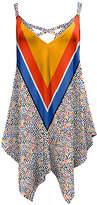 Lily Women's Tunics ORG - Orange & Blue Chevron Leopard Criss-Cross Handkerchief Tunic - Women & Plus