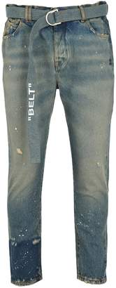 Off White Slim Low Crotch Jeans