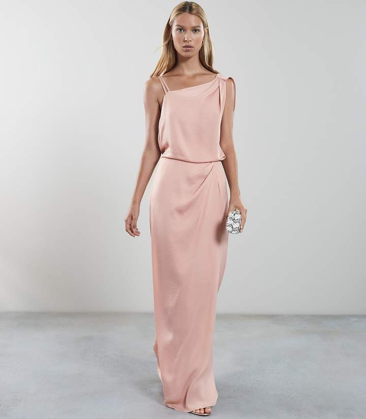 Reiss Ostia Maxi - One Shoulder Maxi Dress in Vintage Satin