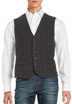 Black Brown 1826 Button Front Plaid Vest