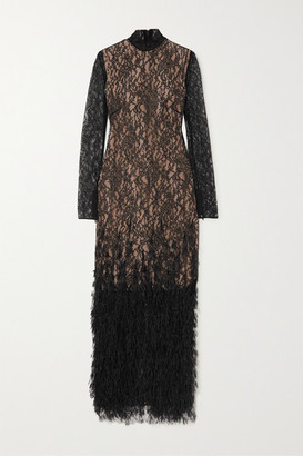 RALPH & RUSSO Feather-trimmed Crystal-embellished Stretch-lace Gown - Black