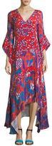 Peter Pilotto V-Neck Mixed-Media Flare-Sleeve Silk Dress