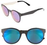BP Women's 50Mm Mirrored Round Sunglasses - Black Matte/ Purple
