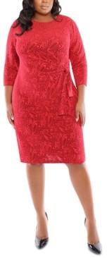 London Times Plus Size Jacquard Side-Tie Dress