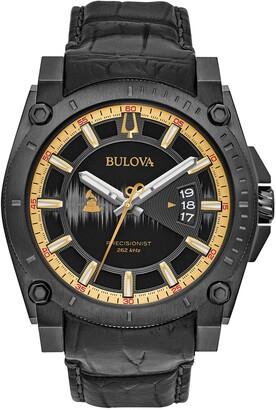 Bulova Men's Precisionist Croc Embossed Leather Strap Watch, 46.5mm