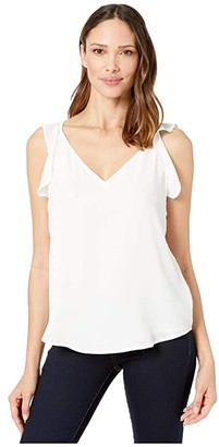 Vince Camuto Sleeveless Flutter Shoulder Soft Texture Blouse (New Ivory) Women's Clothing