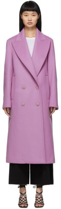 Stella McCartney Purple Wool Catalina Double Breasted Coat