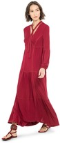 Max Studio Long Jersey Tiered Dress With Tie-Neck
