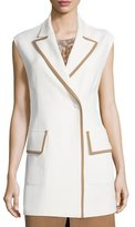 Agnona Snap-Front Two-Tone Long Vest, Ivory