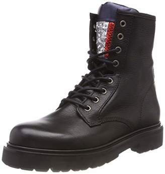 Tommy Jeans Hilfiger Denim Women's Big Flag Sparkle Lace Up Boot Combat (Black 990)