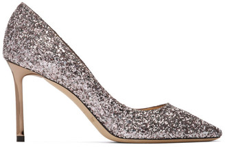 Jimmy Choo Purple Glitter Romy 85 Heels