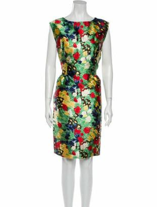 Oscar de la Renta Vintage Knee-Length Dress Green