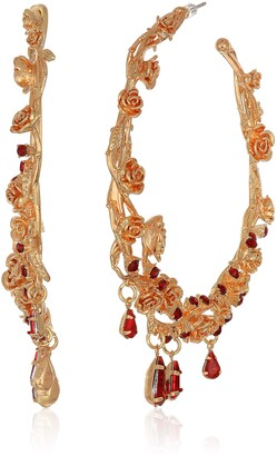 Steve Madden Women's Floral Design With Red Rhinestone Teardrop Dangle Charm Yellow Gold-Tone Large Hoop Earrings One Size