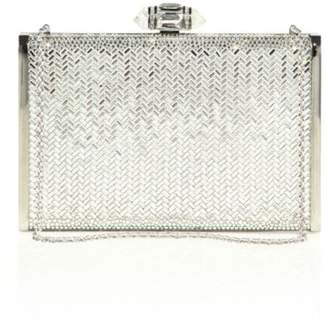 Judith Leiber Couture Tall Slender Herringbone Crystal Clutch