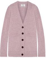 Acne Studios Sahar Faux Suede-paneled Wool Cardigan - Baby pink