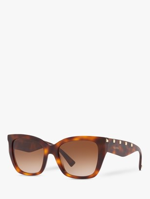 Valentino VA4048 Women's Studded Cat's Eye Sunglasses, Havana/Brown Gradient