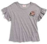 Hip Girl's Rose Graphic Flutter Sleeve Tee