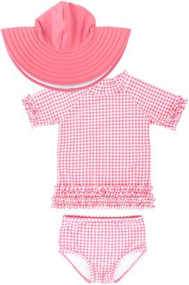 RuffleButts Girl's Gingham Ruffle Rash Guard Bikini w/ Sun Hat, Size 3M-10