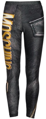 Moschino Logo Faux-Leather Zip Leggings