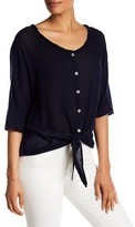 Michael Stars Button Front Tie Blouse