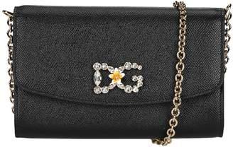Dolce & Gabbana Dauphine Print Leather Crossbody Bag