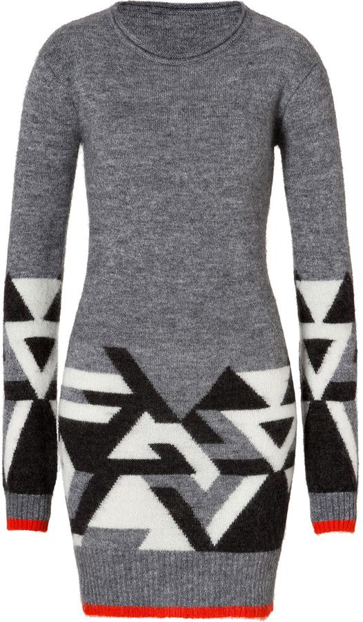 Matthew Williamson Abstract Knit Dress in Grey