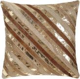 Beige Diagonal Stripe Cowhide Pillow