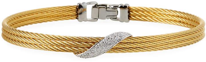 Alor 3-Row Bangle w\/ Wrapped Diamond Pave Golden