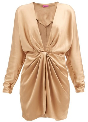 GAUGE81 Shibu V-neck Satin Mini Dress - Bronze