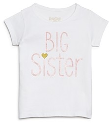 Sara Kety Girls' Big Sister Glitter Tee, Baby, Little Kid - 100% Exclusive