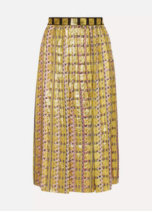 Temperley London Pleated Printed Fil Coupe Chiffon Skirt - Gold
