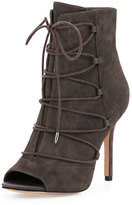 Sam Edelman Asher Peep-Toe Lace-Up Bootie, Gray