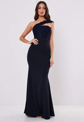 Missguided Navy Lace One Shoulder Maxi Dress