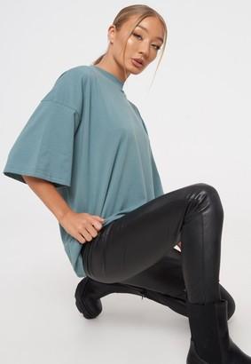 Missguided Blue Drop Shoulder Oversized T Shirt