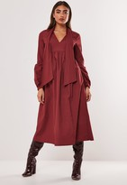 Missguided Burgundy Poplin Pussybow Midi Dress