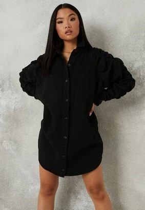 Missguided Black Ruched Sleeve Denim Shirt Dress