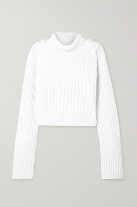 Helmut Lang Organza-trimmed Ribbed Merino Wool Turtleneck Sweater - Cream