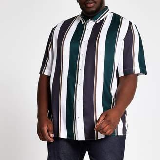 River Island Mens Big and Tall White stripe short sleeve shirt