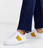 Asos Design DESIGN Wide Fit Dime lace up sneakers in white and mustard