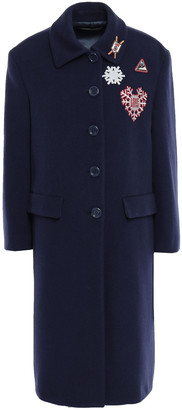 Love Moschino Embroidered Wool-blend Felt Coat