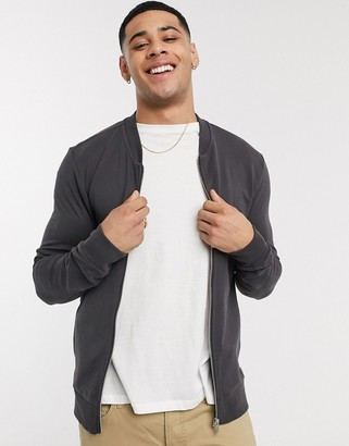 New Look jersey zip through bomber in gray