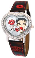 Betty Boop Women's Heart Shape Leather Strap Watch #BB-W540A