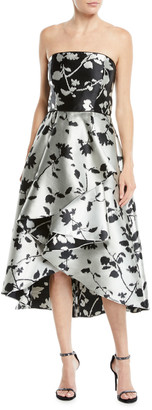 Shoshanna Isbell Strapless Fit-and-Flare Floral-Jacquard High-Low Cocktail Dress