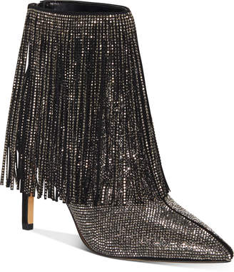 INC International Concepts Inc Women Ismeria Fringe Bling Booties, Women Shoes