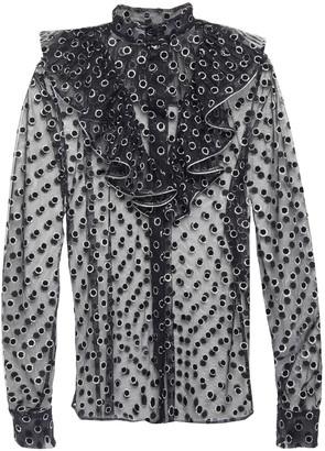 Alberta Ferretti Ruffled Metallic Flocked Tulle Shirt